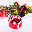 New year background with decoration red ball — Stock Photo