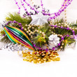 New year background with colorful decorations — 图库照片