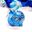 New year background with decoration blue ball — Stock fotografie