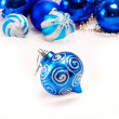 New year background with decoration blue ball - Stock Photo
