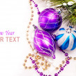 New year background with decoration balls — Stok fotoğraf