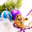New year background with decoration balls — Stockfoto #16195281
