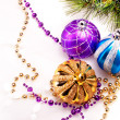 New year background with decoration balls — Stock fotografie