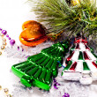 New year background with colorful decorative furtree — Stockfoto