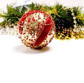 Güzel dekorasyon top ile yeni yıl kartı — Stok fotoğraf
