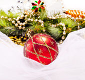 New year background with decoration ball — Stock Photo