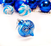 New year background with decoration blue ball — Stock Photo