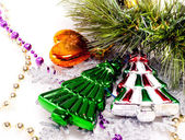 New year background with colorful decorative furtree — Stock Photo