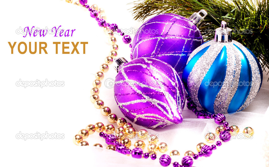 New year background with decoration color balls for holiday design  Foto Stock #16195269