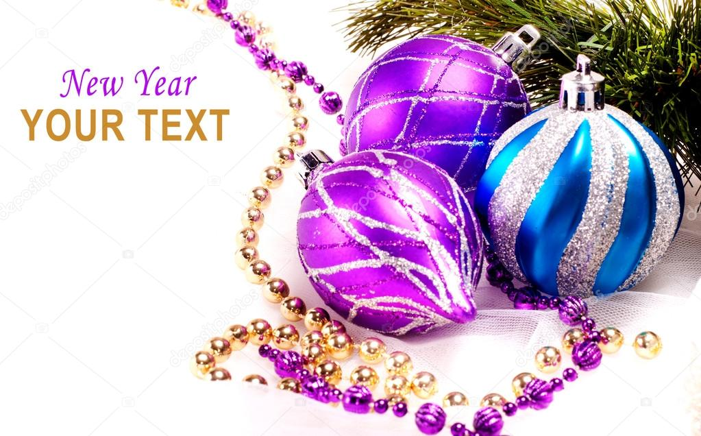 New year background with decoration color balls for holiday design — Stok fotoğraf #16195269