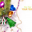 New year background with colorful decorations - Stock Photo