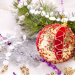 New year background with decoration red ball — Stok fotoğraf