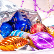 New year background with colorful decorations — Stok fotoğraf