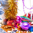 New year background with colorful decorations — Foto Stock