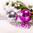 New year background with decoration balls — Stock Photo