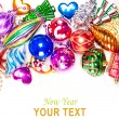 New year background with colorful decorations — Stock Photo #16260965