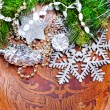 Stock Photo: New year wood background with beautiful decorations