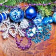 New year wood background with colorful decorations — Foto Stock