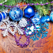 New year wood background with colorful decorations — Stock Photo