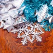 New year wood background with beautiful decorations — ストック写真
