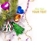 Neujahr hintergrund mit bunten dekorationen — Stockfoto