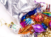 New year background with colorful decorations — Stock Photo