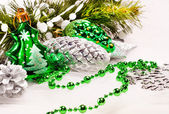 New year background with fur tree decorations — Stock Photo
