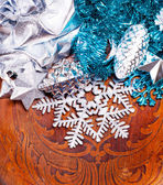New year wood background with beautiful decorations — Stock Photo