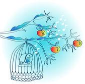 Kafes ve kuş kış arka plan — Stok Vektör