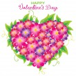 Floral Valentine background with heart shape — Vettoriali Stock