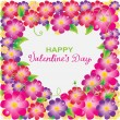 Stock Vector: Floral Valentine background with heart shape