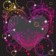 Floral Valentine background with heart — Imagens vectoriais em stock