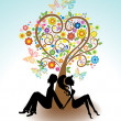 Man, Woman sitting under Love tree - Stock Vector