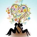 Man, Woman sitting under Love tree — Stock Vector