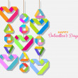 Background with color origami paper hearts — Stockvektor