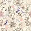 Seamless background with cats and flowers - Grafika wektorowa
