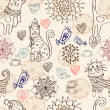 Seamless background with cats and flowers -  