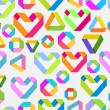 Seamless bright background with paper heart and geometrical figu — Stockvectorbeeld