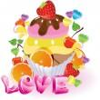 Valentinstag Hintergrund mit Süßigkeiten — Stockvektor