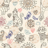 Seamless background with cats and flowers — Stock Vector