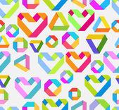 Naadloze lichte achtergrond met papier hart en geometrische figu — Stockvector
