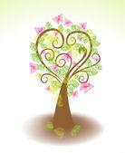 красивое дерево с зелеными листьями и бабочки — Cтоковый вектор