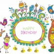 Stock Vector: Happy birthday cartoon card
