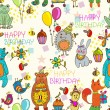 Seamless Happy birthday cartoon background - Stock Vector