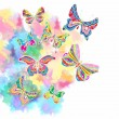 Romantic colorful background with butterfly - Stock Vector