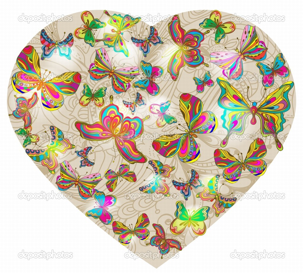 Beautiful Valentine's background with heart and butterfly, illustration  Stockvectorbeeld #18560647