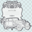 Stock Vector: Wedding Invitation Card with retro car