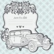 Wedding Invitation Card with retro car — Stock Vector