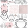 Wedding invitation collection of vintage elements - Stock Vector