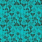 Seamless retro Keys Background — Stock Vector